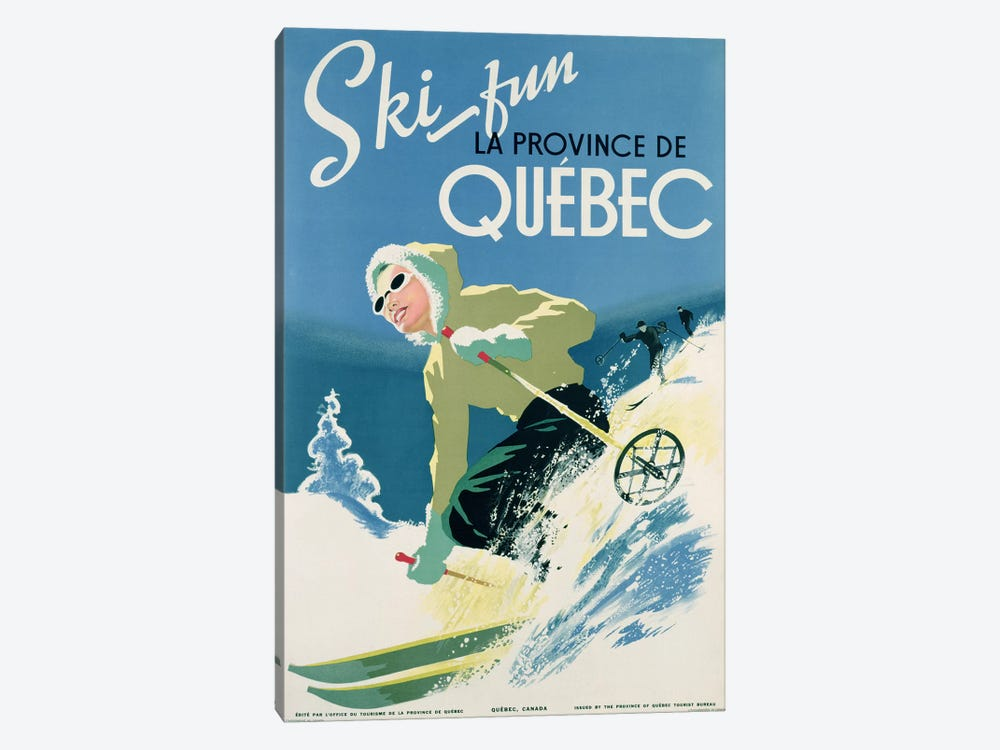 Poster advertising skiing holidays in the province of Quebec, c.1938  by Canadian School 1-piece Canvas Art