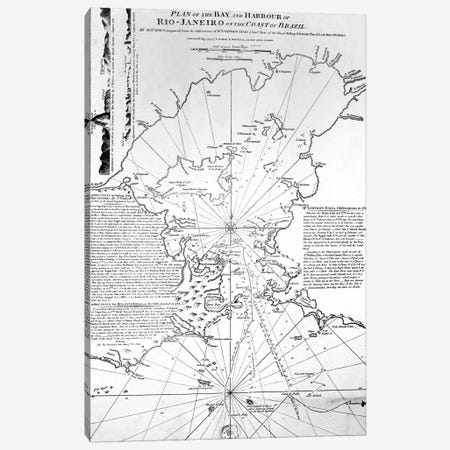 Plan of the Bay and Harbour of Rio de Janeiro on the coast of Brazil, 1794  3-Piece Canvas #BMN3122} by French School Canvas Art
