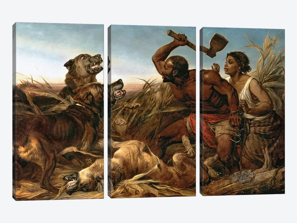 The Hunted Slaves, 1862  by Richard Ansdell 3-piece Canvas Wall Art
