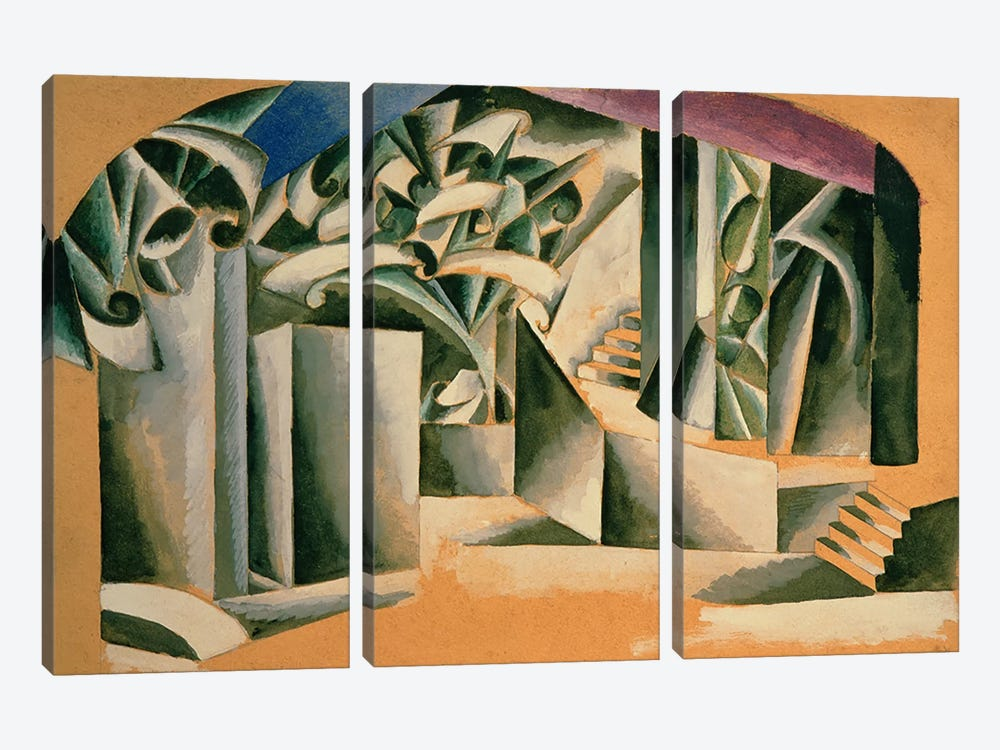 Stage design for William Shakespeare's play 'Romeo and Juliet', 1920  by Lyubov Popova 3-piece Canvas Artwork