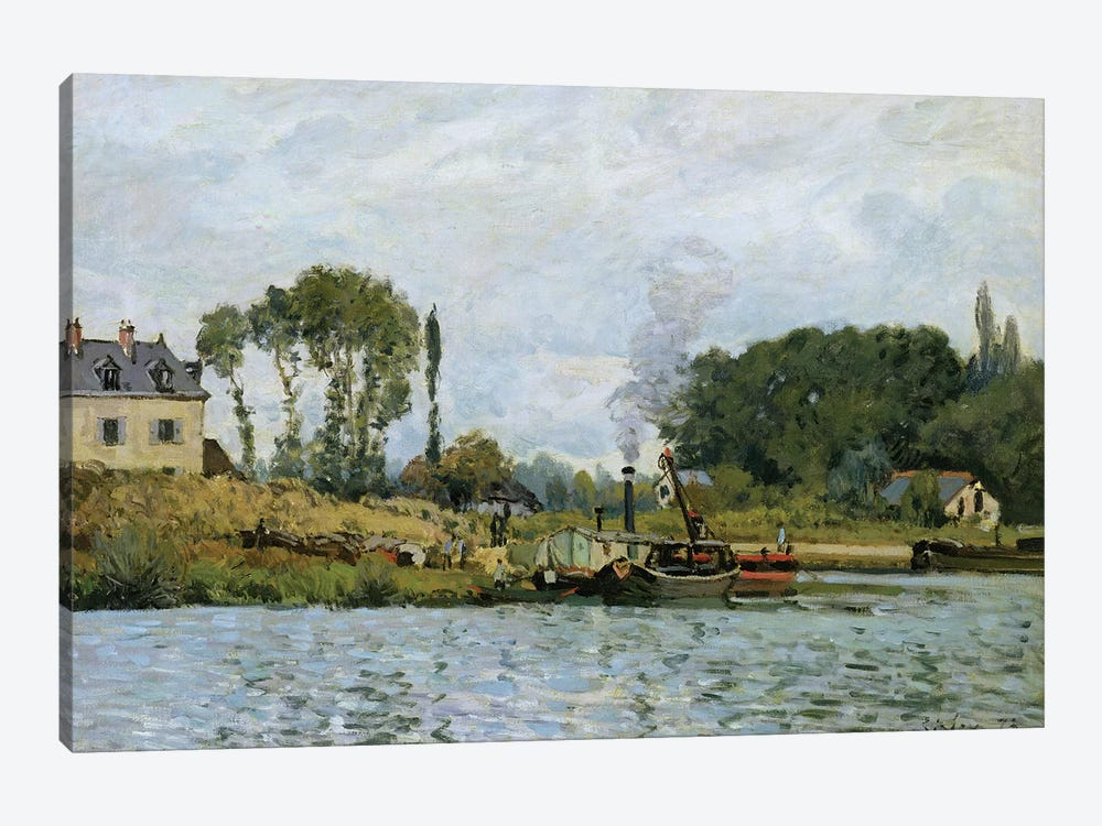 Boats at the lock at Bougival, 1873  by Alfred Sisley 1-piece Canvas Wall Art