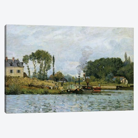 Boats at the lock at Bougival, 1873  Canvas Print #BMN312} by Alfred Sisley Canvas Wall Art