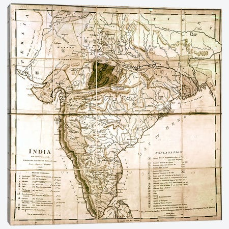 Map of India, 1803  Canvas Print #BMN3136} by English School Canvas Artwork