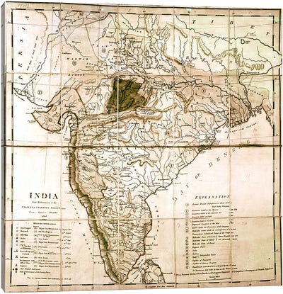 Map of India, 1803  Canvas Art Print