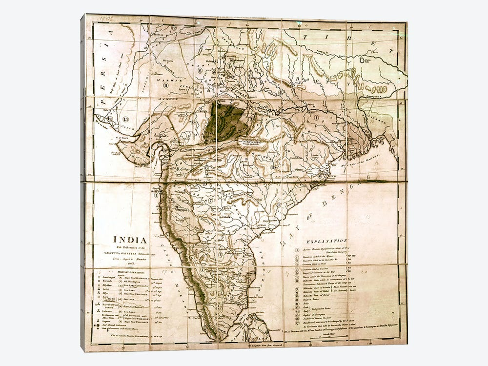Map of India, 1803  by English School 1-piece Canvas Art Print