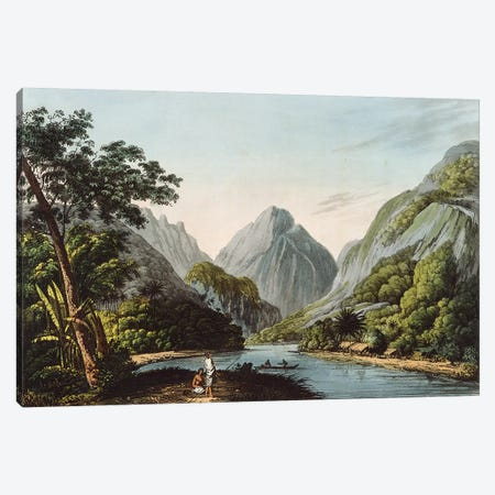 A View in Oheitepha Bay on the Island of Otaheite, from 'Captain Cook's Last Voyage', 1809  Canvas Print #BMN3139} by John Webber Canvas Print
