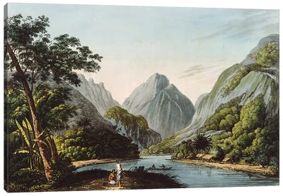 A View in Oheitepha Bay on the Island of Otaheite, from 'Captain Cook's Last Voyage', 1809  Canvas Art Print