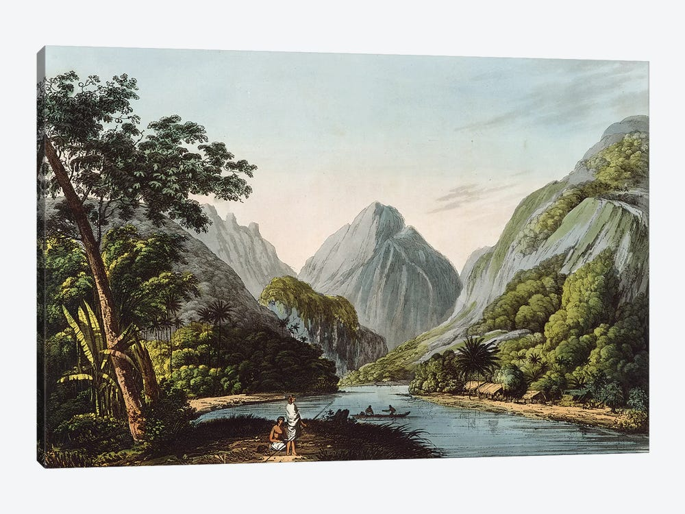 A View in Oheitepha Bay on the Island of Otaheite, from 'Captain Cook's Last Voyage', 1809  by John Webber 1-piece Canvas Artwork