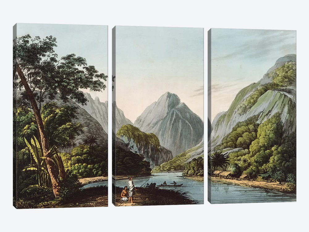 A View in Oheitepha Bay on the Island of Otaheite, from 'Captain Cook's Last Voyage', 1809  by John Webber 3-piece Canvas Art