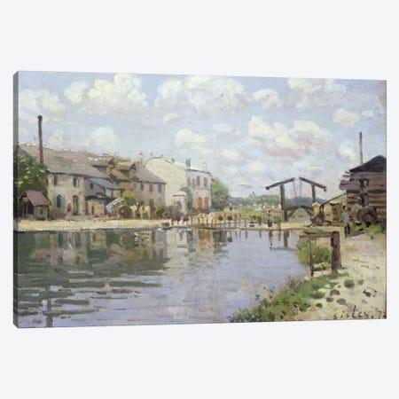 The Canal Saint-Martin, Paris, 1872  Canvas Print #BMN313} by Alfred Sisley Canvas Artwork