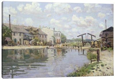 The Canal Saint-Martin, Paris, 1872  Canvas Art Print