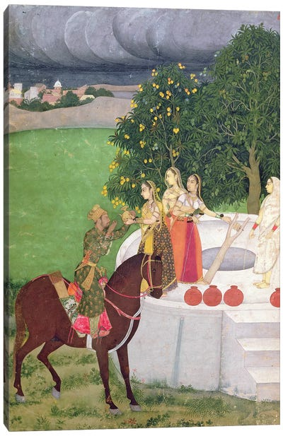 A Prince begging water from women at a well, Mughal, c.1720  Canvas Art Print
