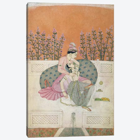 Lovers on a Terrace, Pahari  Canvas Print #BMN3142} by Indian School Canvas Artwork