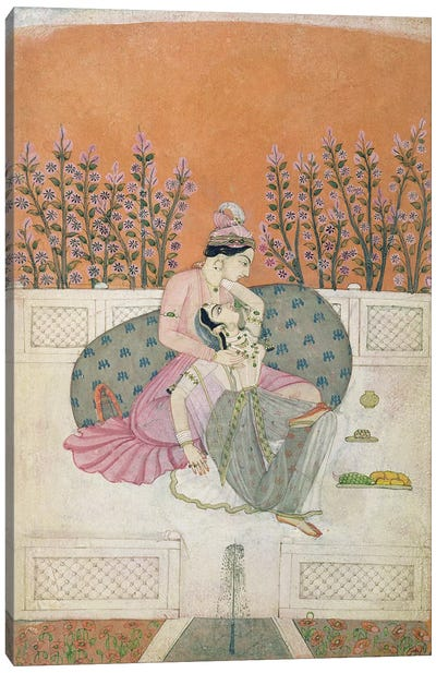 Lovers on a Terrace, Pahari  Canvas Print #BMN3142