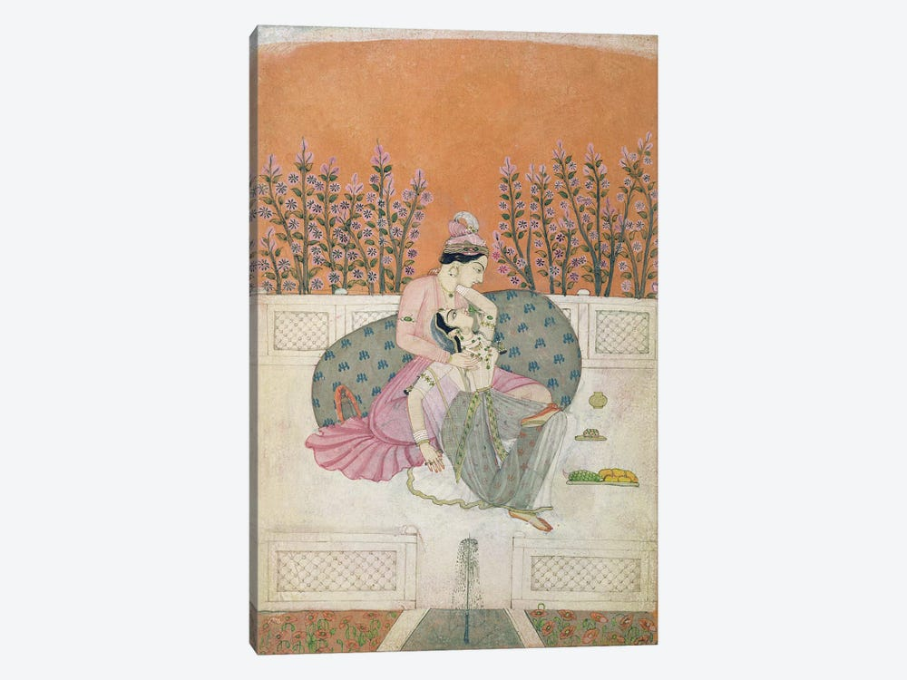 Lovers on a Terrace, Pahari  by Indian School 1-piece Canvas Artwork