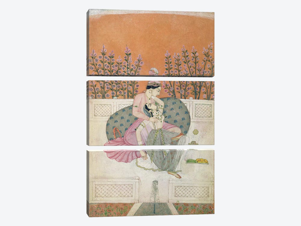 Lovers on a Terrace, Pahari  by Indian School 3-piece Canvas Wall Art