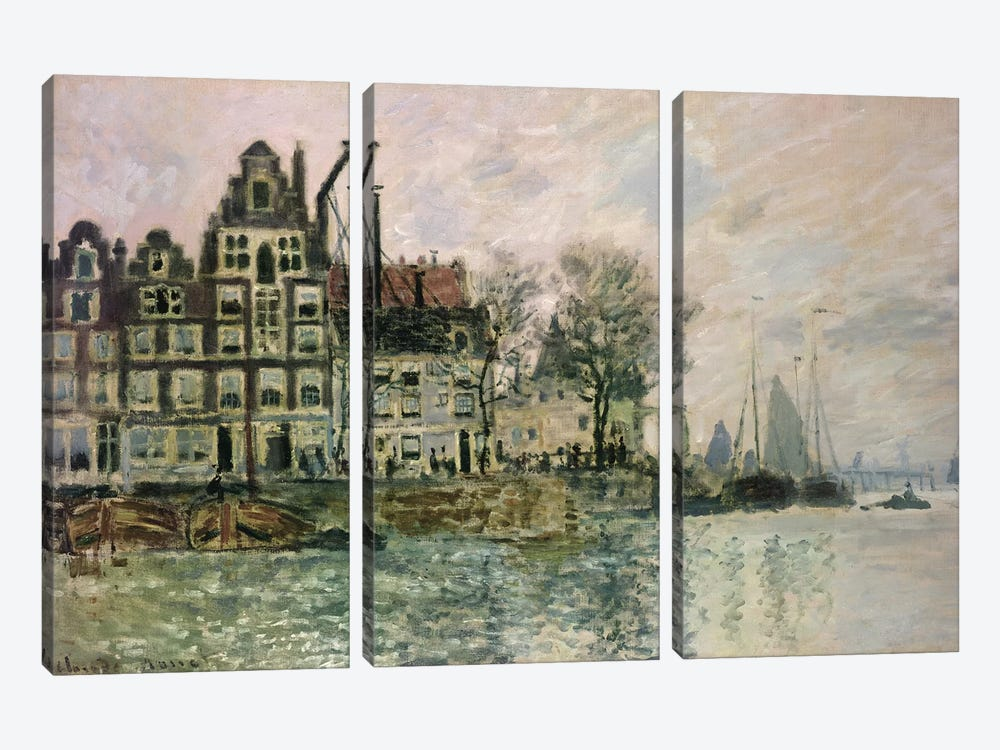 The Port of Amsterdam, c.1873  by Claude Monet 3-piece Canvas Print