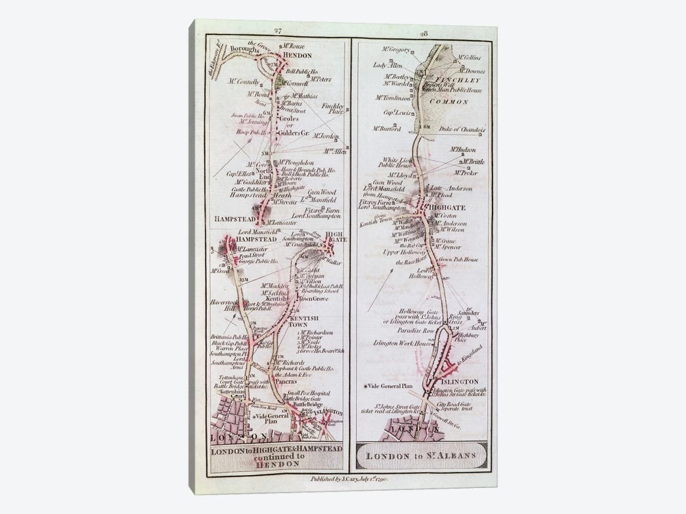 Great North Road out of London, 1st July 1790  by English School 1-piece Canvas Art Print