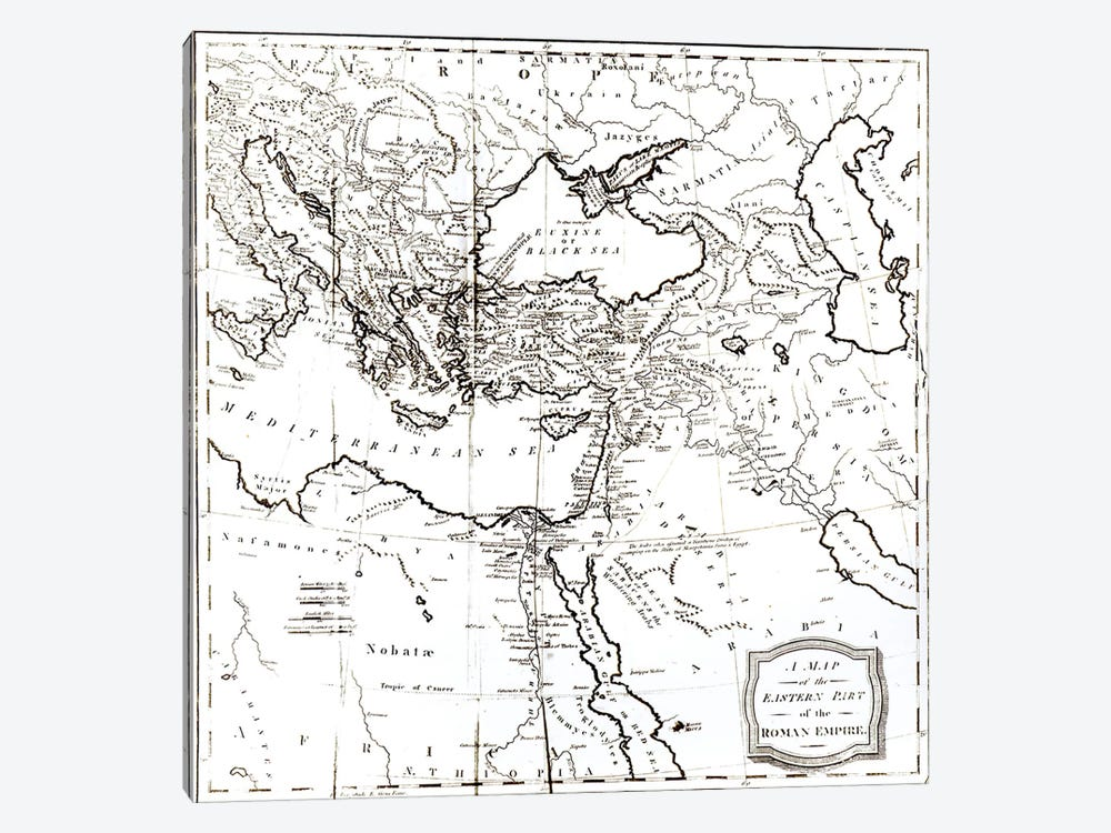 Map of the Eastern Part of the Roman Empire, from 'The History of the Decline and Fall of the Roman Empire' Vol 6, by Edward Gib by English School 1-piece Canvas Wall Art