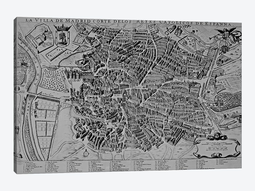 Map of Madrid by Spanish School 1-piece Canvas Print