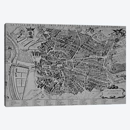 Map of Madrid  3-Piece Canvas #BMN3169} by Spanish School Canvas Artwork