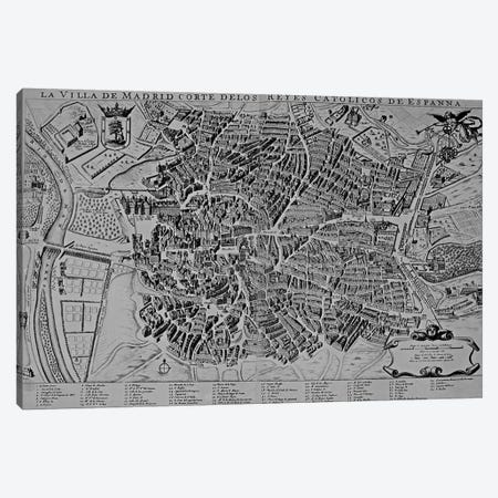 Map of Madrid  3-Piece Canvas #BMN3169} by Spanish School Canvas Artwork