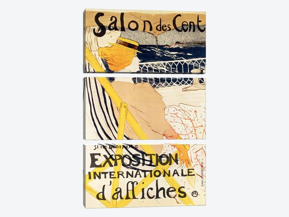 Poster advertising the 'Exposition Internationale d'Affiches', Paris, c.1896  by Henri de Toulouse-Lautrec 3-piece Canvas Artwork