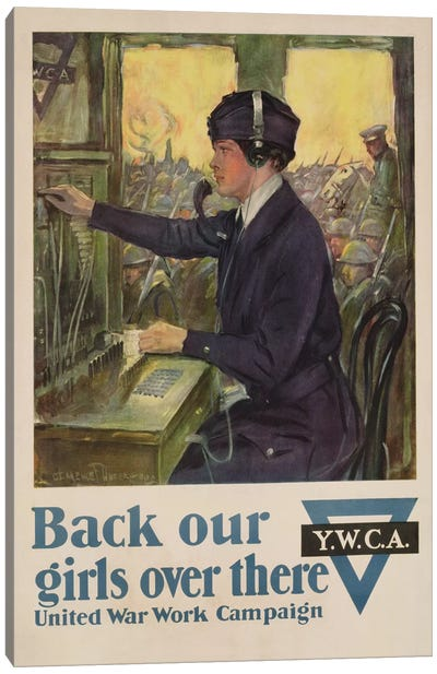 'Back Our Girls Over There', World War I YWCA poster, c.1918  Canvas Art Print