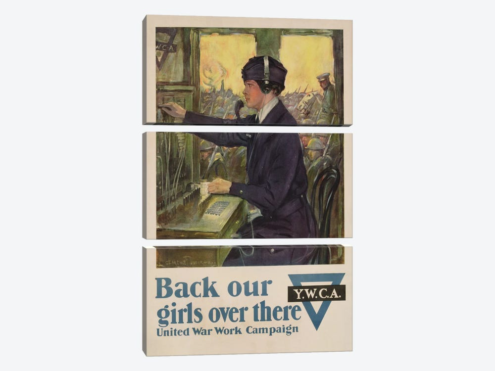 'Back Our Girls Over There', World War I YWCA poster, c.1918  by Clarence F. Underwood 3-piece Canvas Art Print