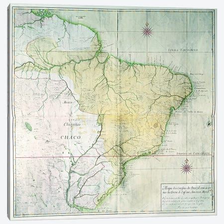 Map of Brazil, 1749  Canvas Print #BMN3185} by Portuguese School Canvas Art Print
