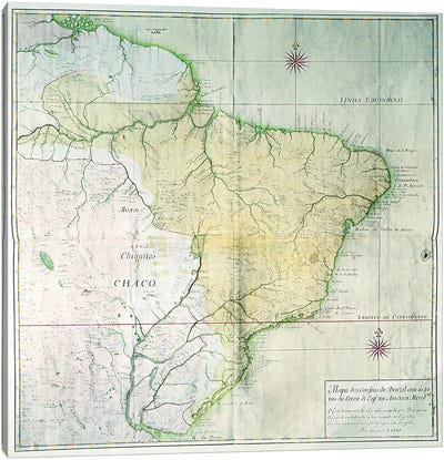 Map of Brazil, 1749  Canvas Art Print