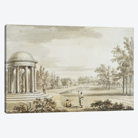 The Rotunda and the Queen's Theatre, Stowe, 1753  Canvas Print #BMN3187} by Jean Baptiste Claude Chatelain Canvas Art Print