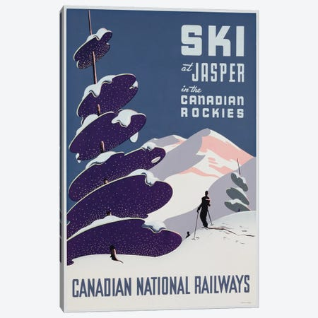 Poster advertising the Canadian Ski Resort Jasper  Canvas Print #BMN3190} by Canadian School Canvas Art Print