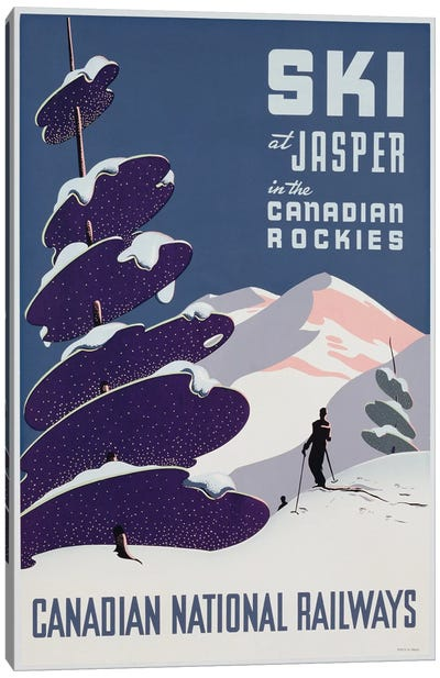 Poster advertising the Canadian Ski Resort Jasper Canvas Art Print