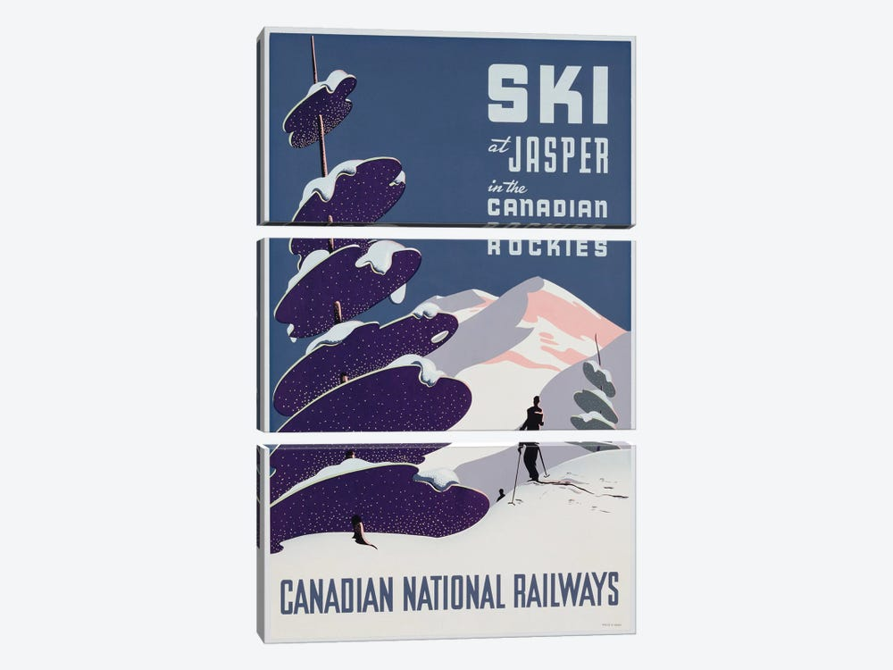 Poster advertising the Canadian Ski Resort Jasper by Canadian School 3-piece Art Print