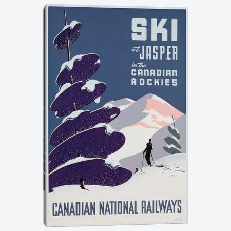 Poster advertising the Canadian Ski Resort Jasper  Canvas Print #BMN3190} by Canadian School Canvas Art Print