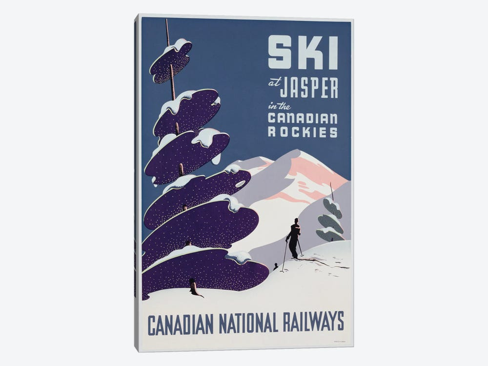Poster advertising the Canadian Ski Resort Jasper  by Canadian School 1-piece Canvas Print