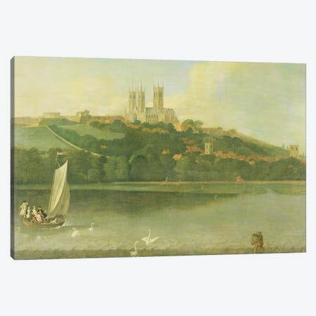 A View of the Cathedral and City of Lincoln from the River, c.1760  Canvas Print #BMN3192} by Joseph Baker Art Print