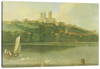 A View of the Cathedral and City of Lincoln from the River, c.1760  Canvas Art Print
