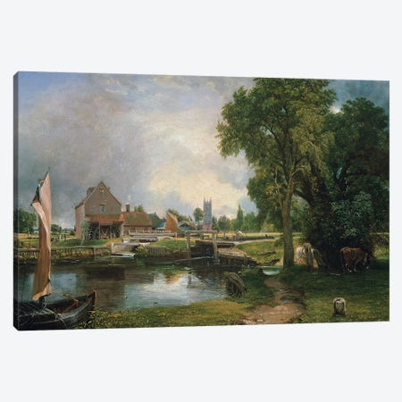 Dedham Lock and Mill, 1820  Canvas Print #BMN319} by John Constable Canvas Wall Art