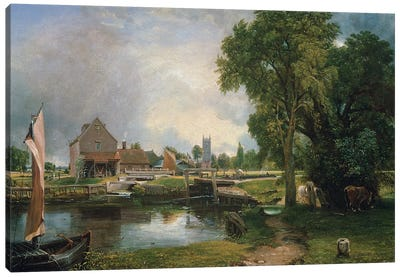 Dedham Lock and Mill, 1820  Canvas Art Print