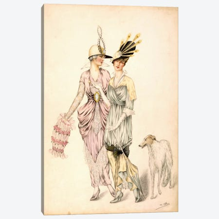 Two dresses for the Goodwood Races, c.1920 (colour litho) Canvas Print #BMN31} by Unknown Artist Canvas Art Print