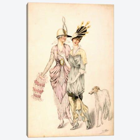 Two dresses for the Goodwood Races, c.1920 (colour litho) Canvas Print #BMN31} by Unknown Artist Canvas Art Print