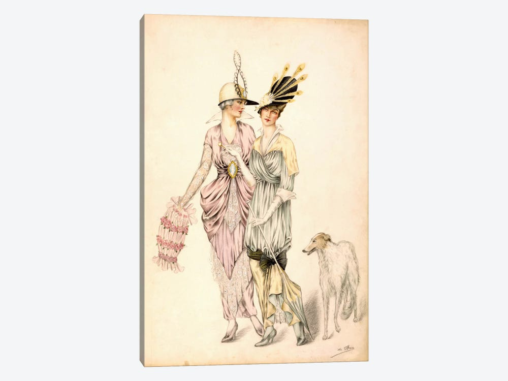 Two dresses for the Goodwood Races, c.1920 (colour litho) by Unknown Artist 1-piece Canvas Art