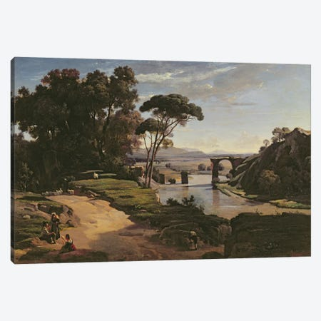 The Bridge at Narni, c.1826-27  Canvas Print #BMN3200} by Jean-Baptiste-Camille Corot Canvas Print