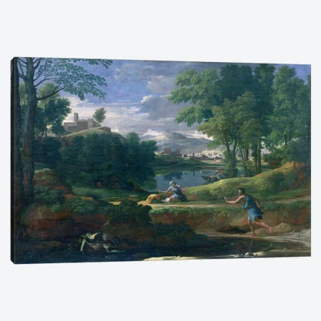 Landscape with a Man killed by a Snake, c.1648  Canvas Print #BMN3201} by Nicolas Poussin Art Print