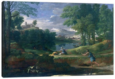 Landscape with a Man killed by a Snake, c.1648  Canvas Art Print