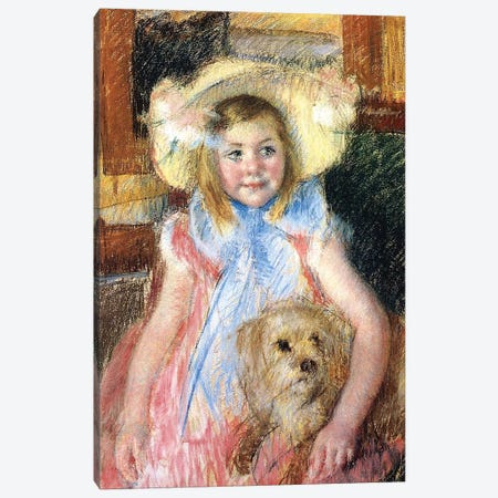 Sara and her Dog, c.1901  Canvas Print #BMN3202} by Mary Stevenson Cassatt Canvas Art Print