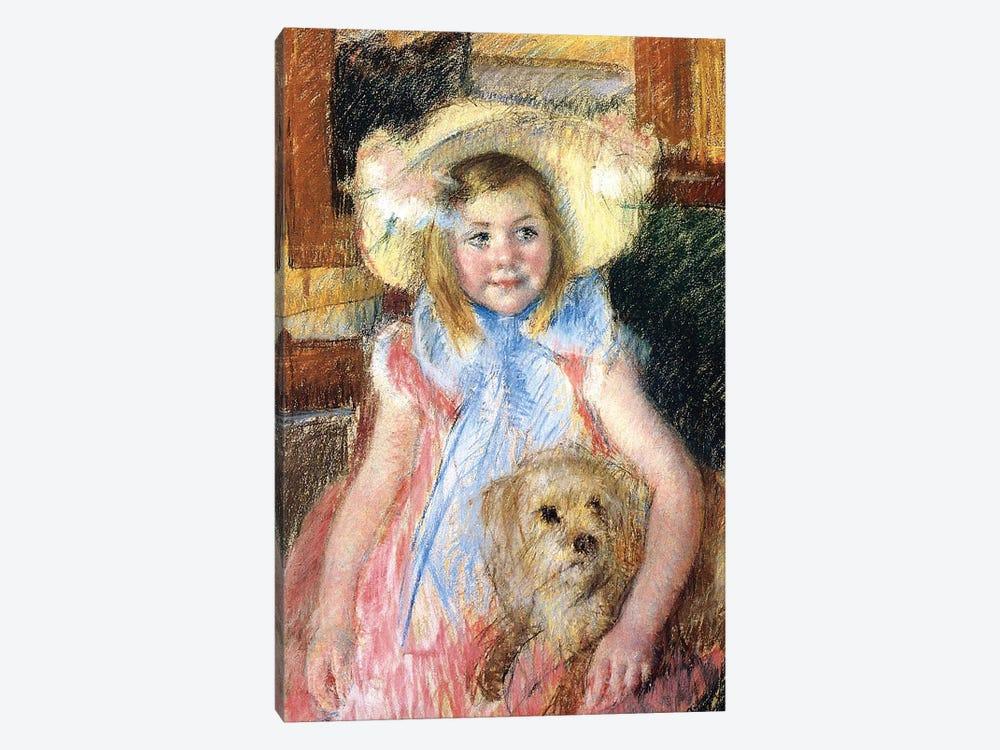 Sara and her Dog, c.1901  by Mary Stevenson Cassatt 1-piece Canvas Art