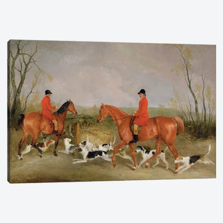 George Mountford, Huntsman to the Quorn, and W. Derry, Whipper-In, at John O'Gaunt's Gorse, nr Melton Mowbray, 1836  Canvas Print #BMN3208} by Richard Barrett Davis Canvas Print
